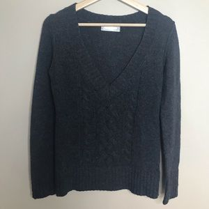 OLD NAVY V Neck Cable Knit Pullover Charcoal Grey